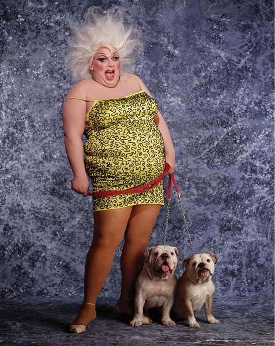 Divine and her bulldogs, Beatrix and Klaus